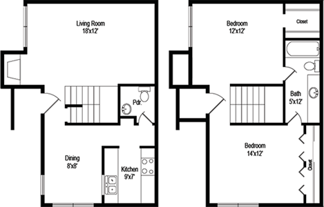 Branson (B3) - Two Bedroom / One & 1/2 Bath - 1,034 Sq. Ft.*