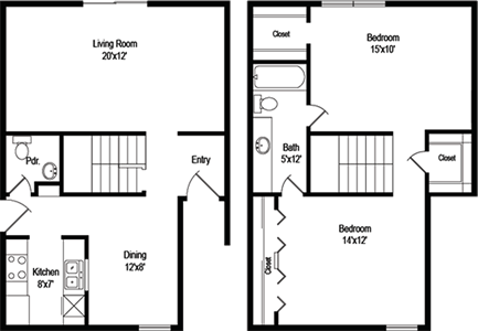 Bentley (B6) - Two Bedroom / One and 1/2 Bath - 1,107 Sq. Ft.*