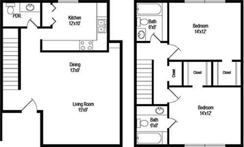 Ballantine (B7) - Two Bedroom / Two and 1/2 Bath - 1,074 Sq. Ft.*